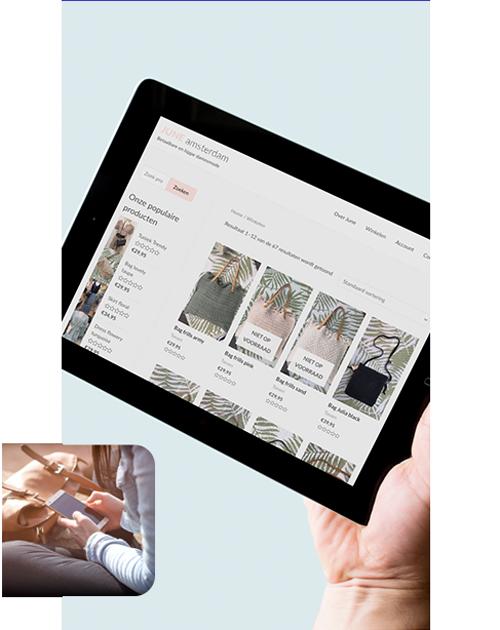 Tablet met webwinkel Onliners werkproces