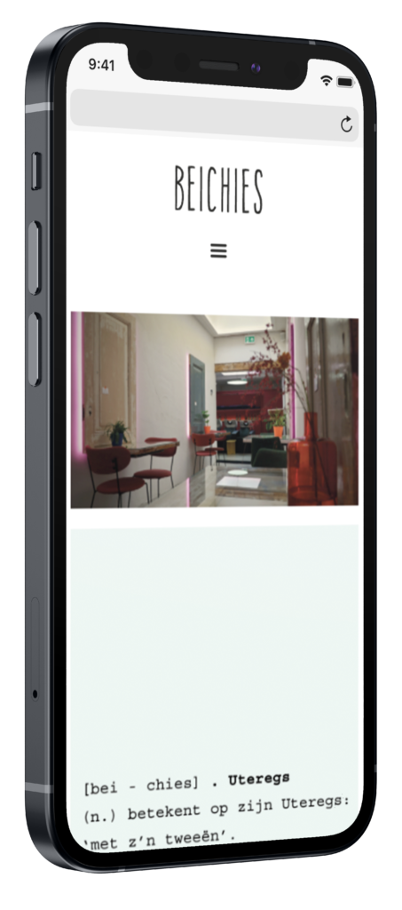 Beichies mobiele website op iphone mockup