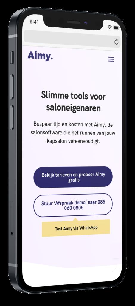 MeetAimy mobiele website