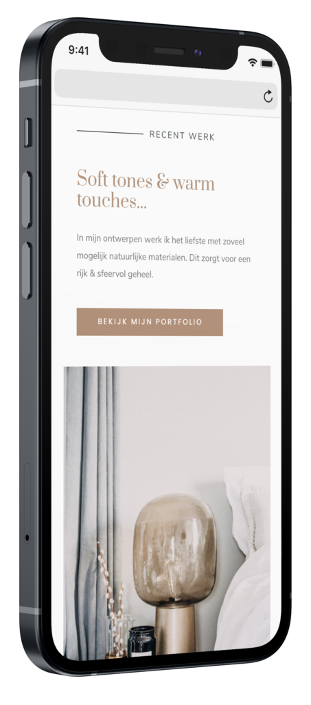 A the studio website voorbeeld op mobiel mockup