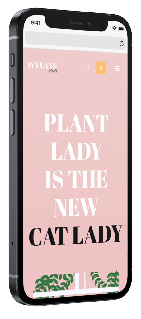 Ivy Lane mobiele webshop op iphone mockup