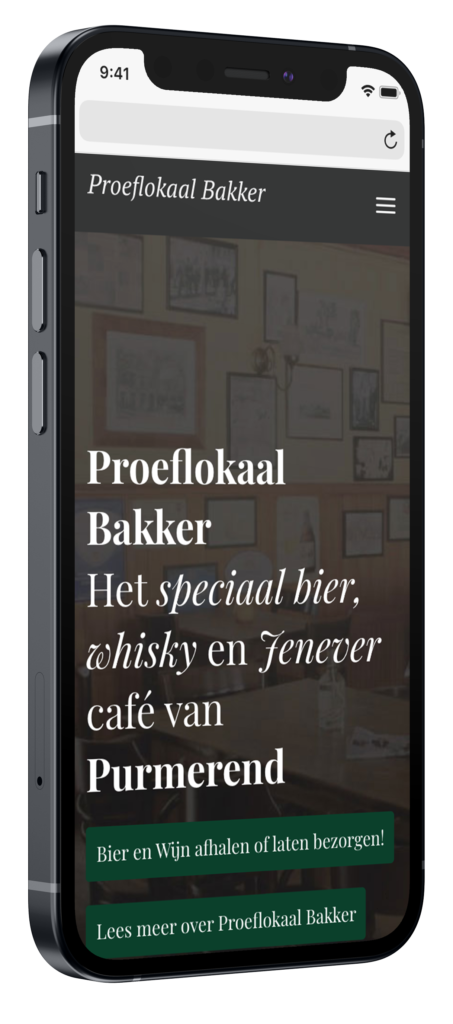 Proeflokaal bakker mobiele website mockup