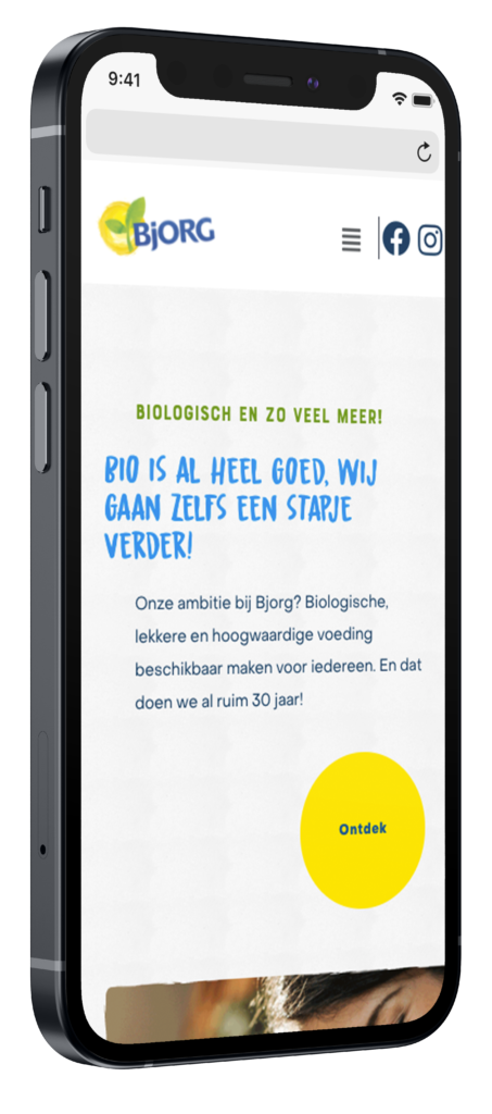 Bjorg mobiele website mockup op iphone