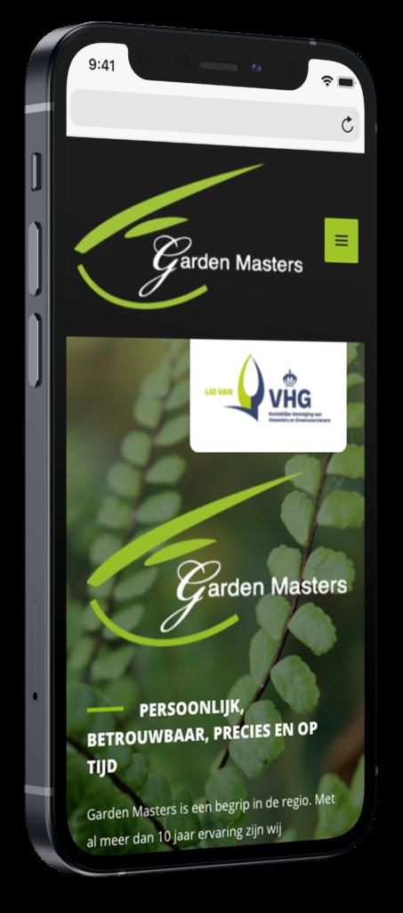 Garden masters mobiele website op iphone