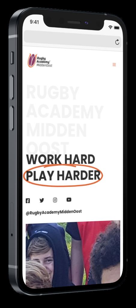 Rugby academy midden oost website op mobiel
