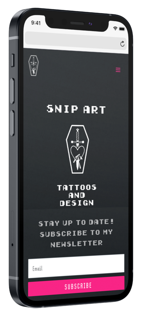 Snip art mobiele website mockup op iphone