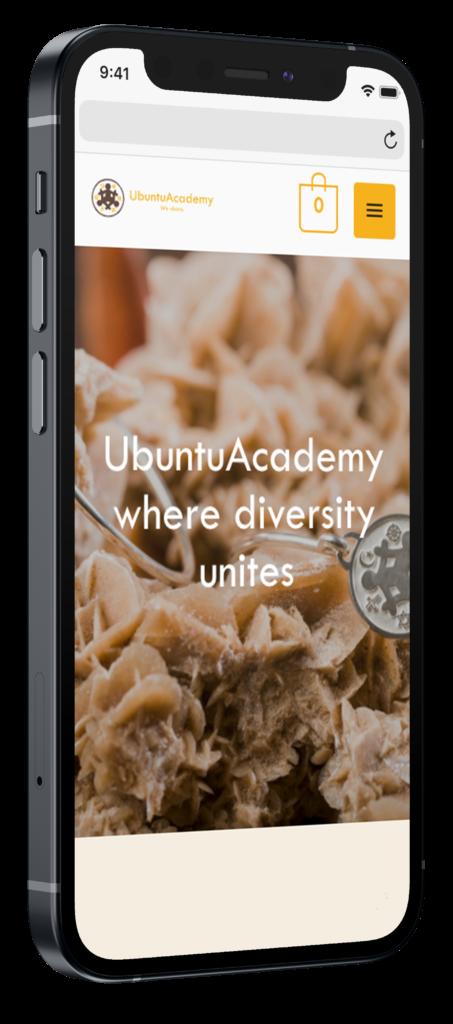 Ubuntu Academy responsive webshop op iphone