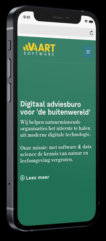 Vaart Software mobiele website op iphone